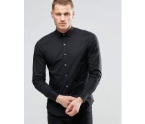 Schmal geschnittenes Stretch-Popelinehemd in Schwarz Schwarz