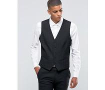 Kleinkarierte Anzugweste mit Stretchanteil in schmaler Passform Schwarz