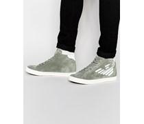 Hohe Sneaker mit Logo Grau