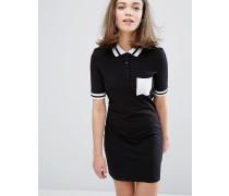 Kleid mit Polokragen und kontrastierenden Streifen Schwarz