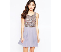 Virgo's Lounge Skater-Kleid mit Blüten und verziertem Oberteil Violett