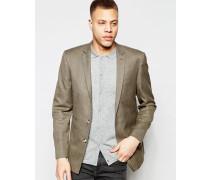 Schmal geschnittene Anzugjacke aus braunem Tweed Braun