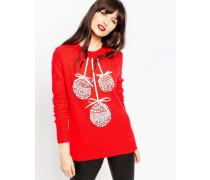 Weihnachtspullover mit Weihnachtsbaumkugeln Rot
