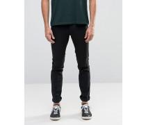 Enge, schwarze Denim-Jeans mit Stretchanteil Schwarz