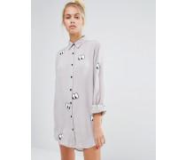 Oversize-Hemd mit durchgehendem Augenprint Grau