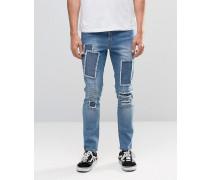 Brooklyn Supply Co Dumbo Jeans in mittlerer Waschung mit Flicken und Rissen am Knie Blau