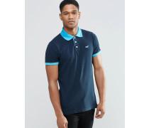 Polohemd mit Kontrastkragen mit Farbverlauf, grau Marineblau