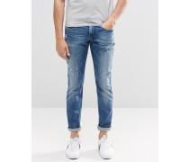 Anbass Schmale Stretch-Jeans mit Verschleiß in heller Waschung Blau