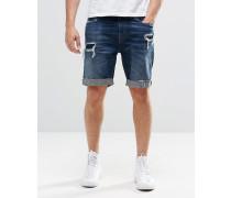 Distressed-Jeans-Shorts Blau
