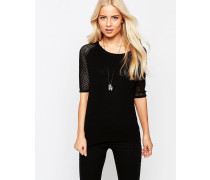 Kurzärmliger Pullover mit Gitter-Ärmeln Schwarz