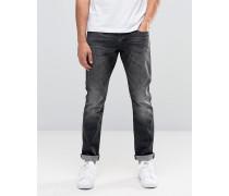 Skinny-Jeans in verwaschenem Schwarz Schwarz