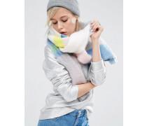 Übergroßer, flauschiger Schal mit Blockstreifen in Pastellfarben Mehrfarbig
