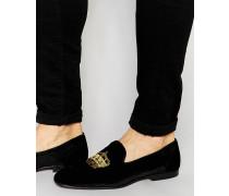 Loafer aus schwarzem Samt mit Kronenstickerei Schwarz