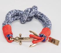 Blaues, gewebtes Armband mit Ankeranhänger Blau