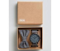 Geschenkset mit Armbanduhr und Fliege, anthrazit Grau