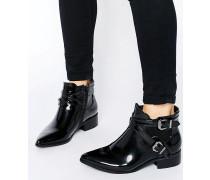 Flache Chelsea-Ankle Boots mit Riemen Schwarz