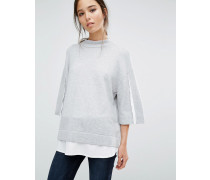 Vhari Oversized-Pullover mit Hemddetail Grau