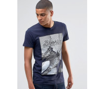 T-Shirt mit Brooklyn Bridge-Print Marineblau