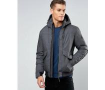 Kurze Jacke mit Taschen Grau