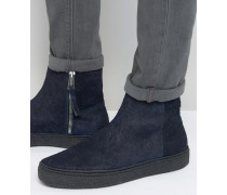 Deller Chelsea-Stiefel mit Kreppsohle Marineblau