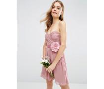 WEDDING Minikleid aus Chiffon mit Bandeau-Oberteil und abnehmbarer Corsage Rosa