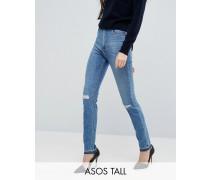 FARLEIGH Schlanke Mom-Jeans in mittlerer Stone-Waschung mit aufgerissenen Knien und ausgelassenem Saum Blau
