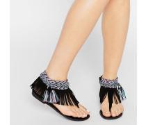 Sandale mit Fransen und Aztekenmuster Schwarz