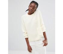 Strickpullover mit Tasche Weiß