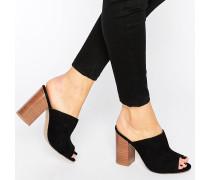 Pantoletten mit Blockabsatz Schwarz