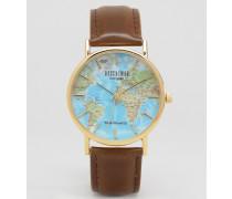 Klassische Armbanduhr mit Landkarten-Ziffernblatt Braun