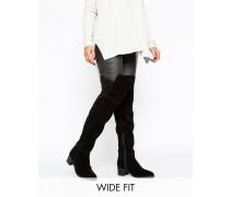 KALEB Spitze Overknee-Stiefel aus Wildleder in breiter Passform Schwarz