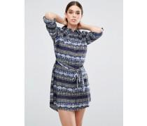 Hemdkleid mit Elefantenprint Marineblau
