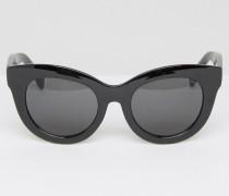 Oversized-Katzenaugensonnenbrille in Schwarz Schwarz