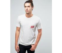 T-Shirt mit Tasche und Karton-Logo Beige