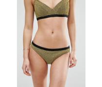 Bikinihose in Goldmetallic mit Picotkante Gold