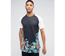 T-Shirt mit Raglanärmeln und Blumenprint Schwarz