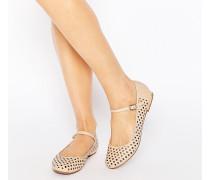Lulu Flache Mary Jane-Schuhe mit Lochmuster Beige