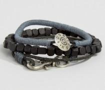 Set aus kombinierbaren Armbändern in Schwarz/Grau Schwarz