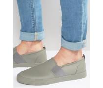 Stoff-Slipper in Grau mit elastischem Riemen Grau