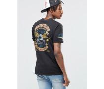 T-Shirt mit Aufdruck hinten Schwarz