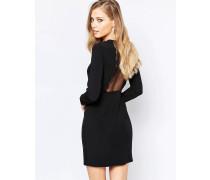 Schwarzes Kleid mit rundgezacktem Saum Schwarz