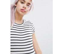 Gestreiftes T-Shirt mit kurzen Ärmeln Schwarz