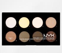Professional Make-Up Highlighter & Kontur Pro-Palette Mehrfarbig
