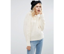 Pullover mit übergroßem Arm Cremeweiß