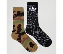 2er Pack Socken in Camouflage, AZ0168 Grün