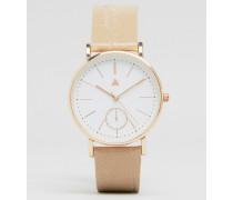 Uhr mit Armband in Kroko-Optik mit großem, einfarbigem Zifferblatt Cremeweiß