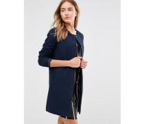 Kragenlose weite Jacke Marineblau