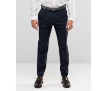 Kurz geschnittene, schmale Anzughose aus Baumwollmischung Marineblau