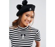 x Disney Mickey Mouse Baskenmütze Schwarz