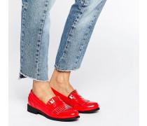 Flache Loafer mit Fransen Rot